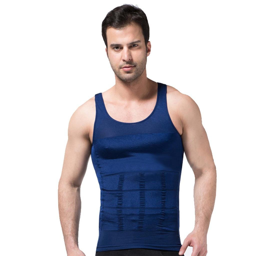 ZEROBODYS Men's Shaper Slimming Sleeveless Undershirt Elastic Body Sculpting Vest Containment Tank Top SS-M01 Blue