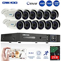 OWSOO 16CH 720P Onvif 2TB DVR Kit with 12PCS 720P Night Vision Built-in Waterproof LED High Resolution Outdoor/Indoor 1500TVL IR Cameras Surveillance CCTV Security Camera System