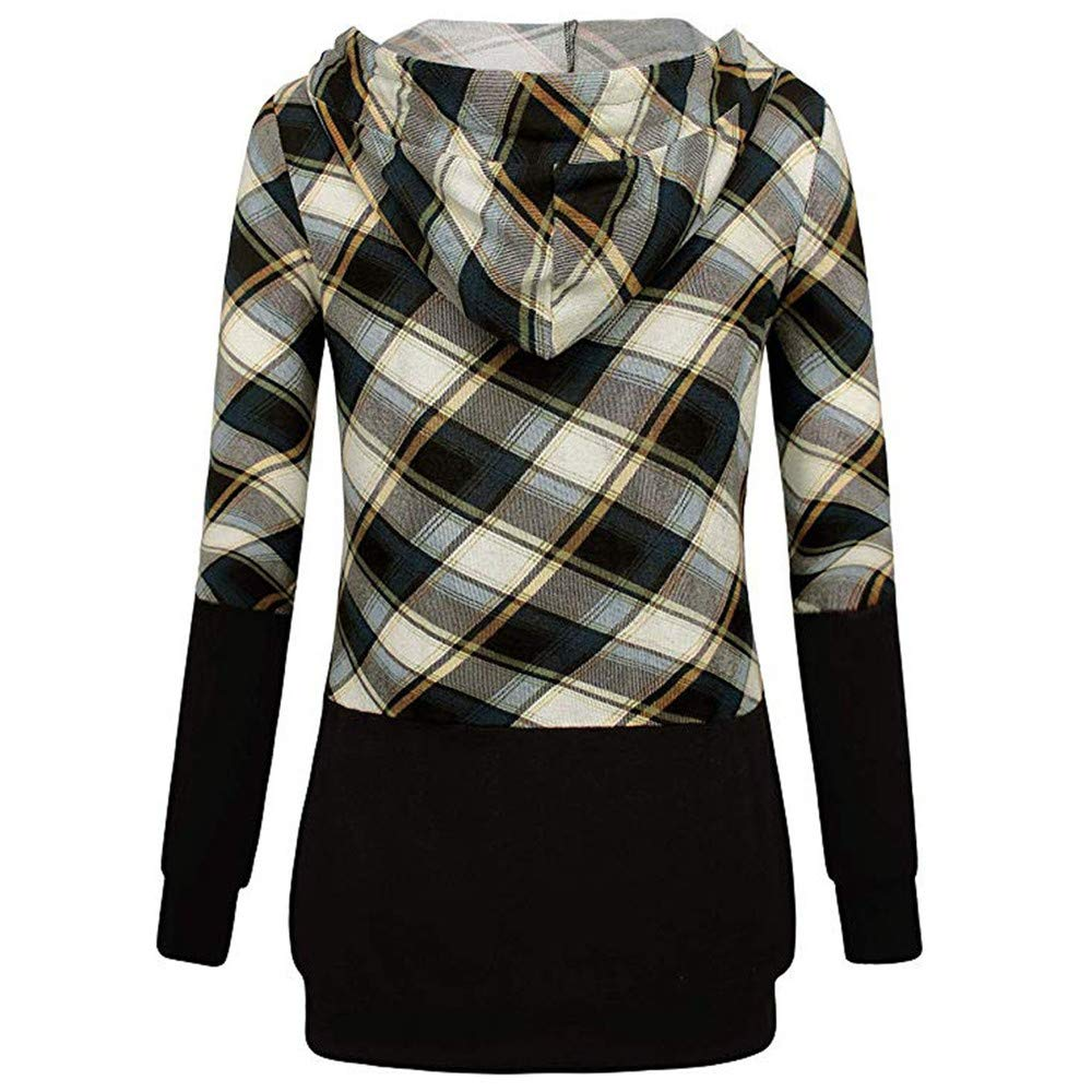 Plus Size Sweatshirt Long Sleeve Plaid Pullover Color Block Hooded Pockets Pullovers Loose Hooded Female,Red,XL,China