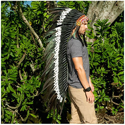 Extra Long Feather Headdress- Native American Indian Inspired- Handmade Halloween Costume for Men Women - DOUBLE FEATHER Black & (Indian Head Dresses)