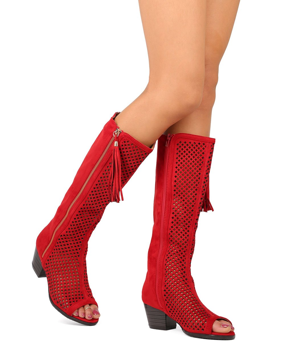 Nature Breeze Women Faux Suede Knee High Peep Toe Perforated Chunky Heel Boot FA67 - Red (Size: 5.5)