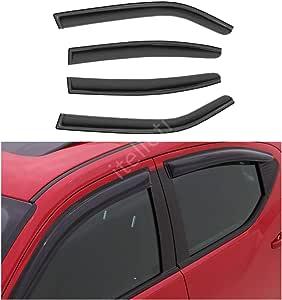 Tuningpros WD2-748 Outside Mount Window Visor Deflector Rain Guard Dark Smoke 4 Pcs Set Compatible With 2010-2016 Volkswagen Touareg