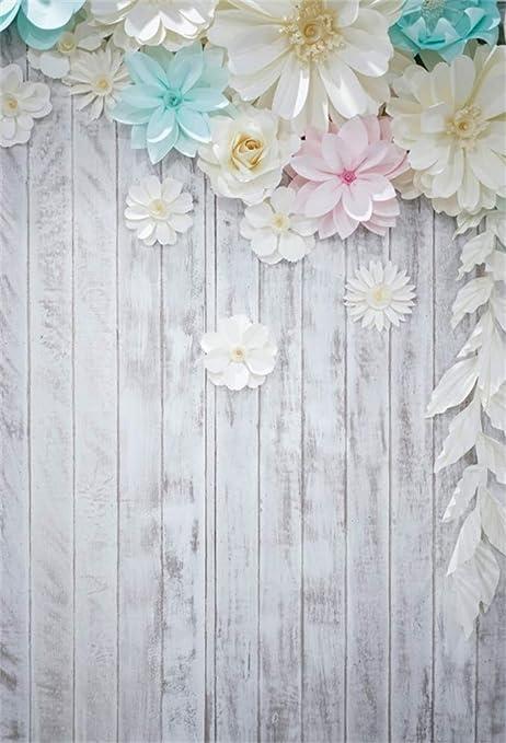 Aofoto 3d Wand Hintergrund Aus Weißem Papier Mit Blumen Kamera