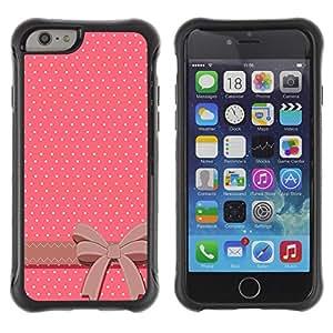 Híbridos estuche rígido plástico de protección con soporte para el Apple iPhone 6 (4.7) - polka dot bow tie pink white brown