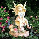 Bits and Pieces - Decorative Fairy Rain Gauge Statue - Track Rainfall With Weather Resistant, Polyresin, Hand Painted Sculpture Measures 9'' x 5-1/4'' x 4-1/4''