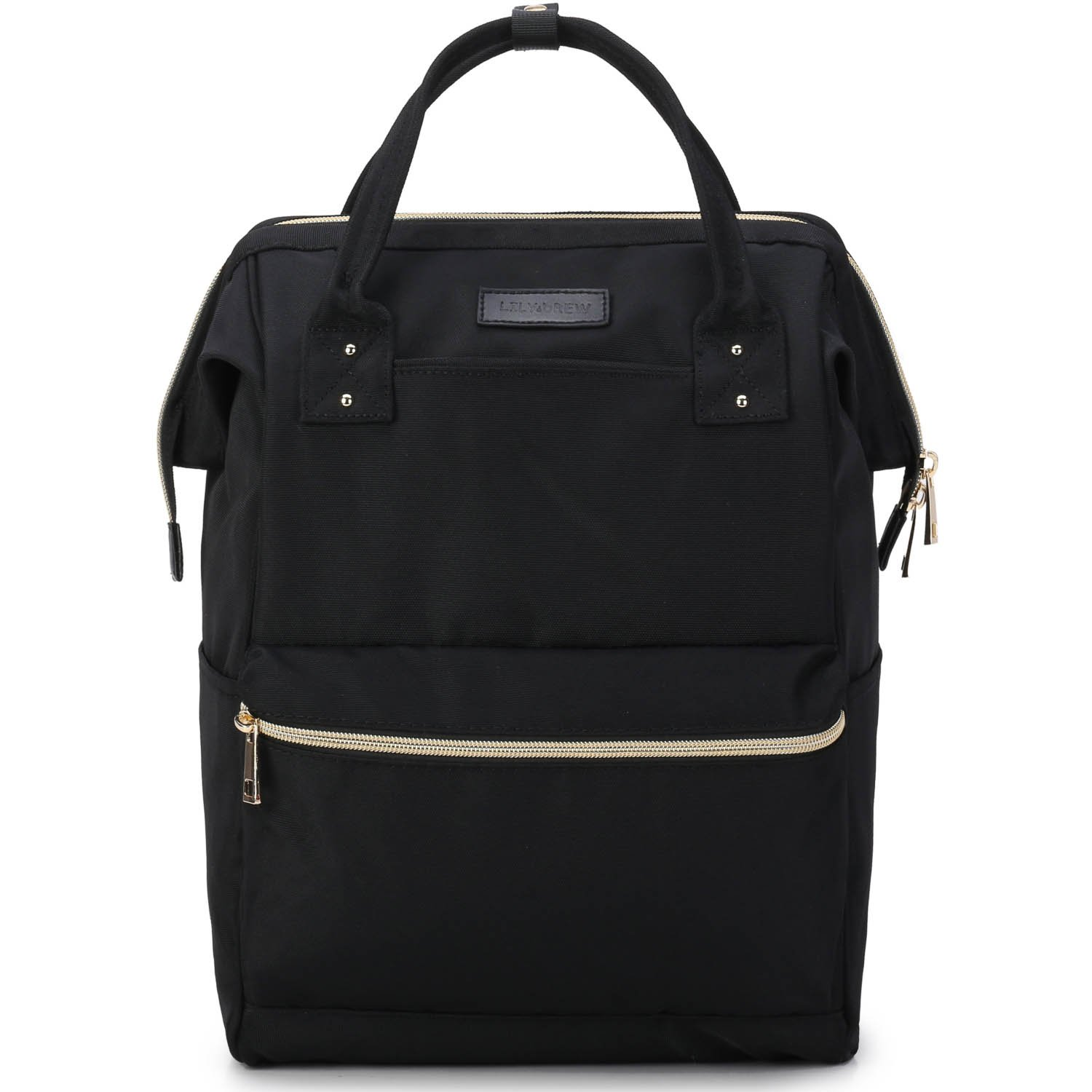 Lily & Drew Casual Travel Daypack School Backpack for Men Women and Laptop Computer, with Doctor Style Top Opening (V4 Black Medium)