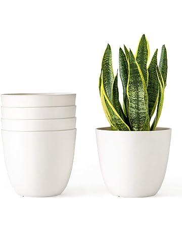 bdc0ee2ce Mkono 5.5 Inch Plastic Planters Indoor Set of 5 Flower Plant Pots Modern  Decorative Gardening Pot