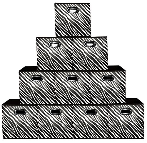 Wall Zebra Metal ([10 Pack-Zebra Pattern] Large Storage Bins, Containers, Boxes, Tote, Baskets| Collapsible Storage Cubes For Household Offices Organization |Nursery Cubes| Dual Plastic Handle Storages Drawer)
