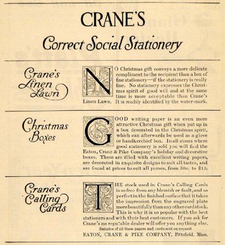 1908 Ad Correct Social Stationery Card Eaton Crane - Original Print Ad Calling Crane