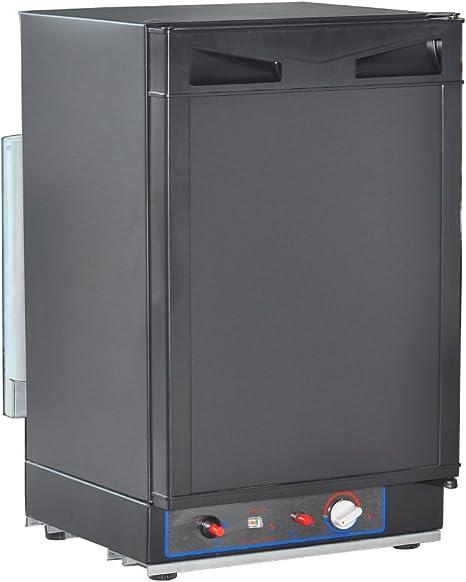 Nevera SMAD CA/CC/GLP compacta; nevera a gas propano para vehículos recreativos, 4,2 m², color negro.