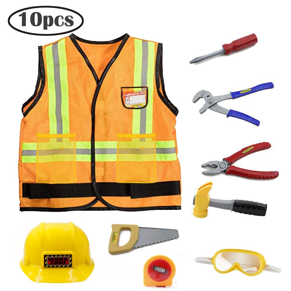 Mizzuco Kids Construction Worker Costume for Halloween Role Play Worker Play Pretend Costume with Accessories 10pcs Yellow