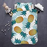 ARIGHTEX Pineapple Kids Bedding Tropical Fruit Bedding Sets Hawaii Pineapples Duvet Cover 2 Pieces Green Yellow Bedspread (Twin)
