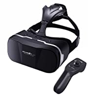 VR Headset with Remote Controller BlitzWolf Upgraded Virtual Reality Headset 3D VR Glasses Games Movies Compatible with iPhone X 8 7 plus, Samsung and more 4.7-6 inch Android Smartphones Best Gifts (VR Headset with Remote)