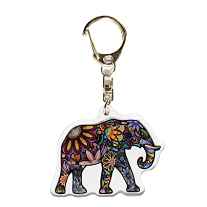 Ninja Pickle Studios Colorful Paisley Elephant Acrylic Keychain - Aproximately 2 inches Wide and Printed On Both Sides - Proudly Made in The USA from ...