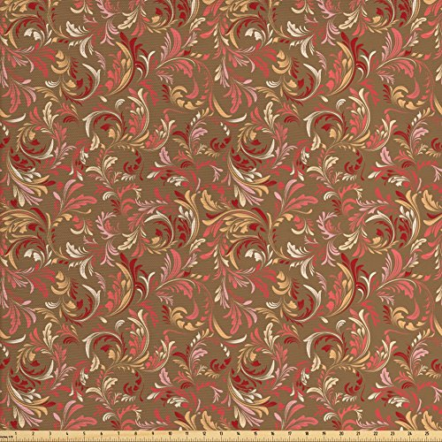 Victorian Petal - Ambesonne Red and Brown Fabric by the Yard, Old Fashioned Victorian Pattern with Leaves Petals Classical Feminine Vintage, Decorative Fabric for Upholstery and Home Accents, Multicolor