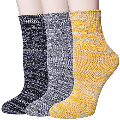 3-5 Pairs Womens Warm Thick Knited Casual Cotton Crew Socks, Cute Funny Animal Cat Dog Socks (37-3pairs)