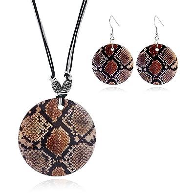 2954e8ef6cf Vintage Sand Shell Ethnic Tribal Pendant Boho Dangle Earrings Necklace Set