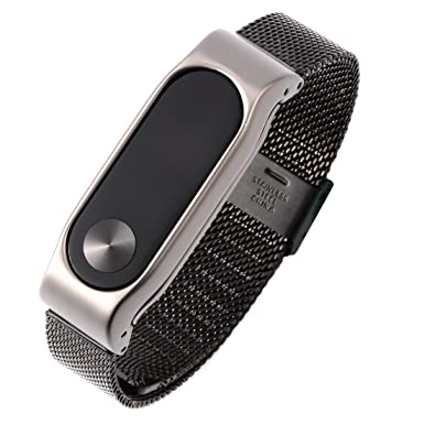 OLLIVAN Xiaomi Mi Band 2 Straps Mi Fit Band 2 Stainless Steel Metal Wrist  Strap Wristband Bracelet Replacement for Mi Band 2 Smart Miband (Black)