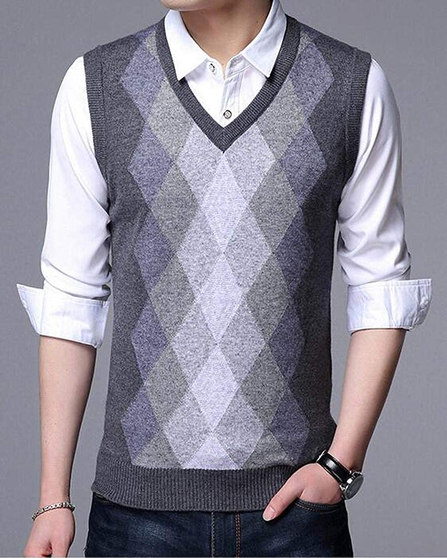 Jotebriyo Mens Sleeveless V-Neck Plaid Print Lightweight Knitted Casual Sweater Jumper Vest Waistcoat