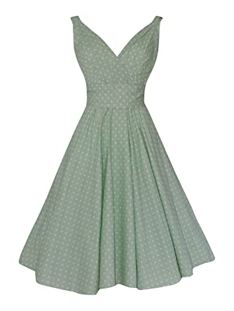 Ladies 50s Vintage Retro Pastel Green Polka Dot Full Circle Cotton Bridesmaid Party Prom Dress (