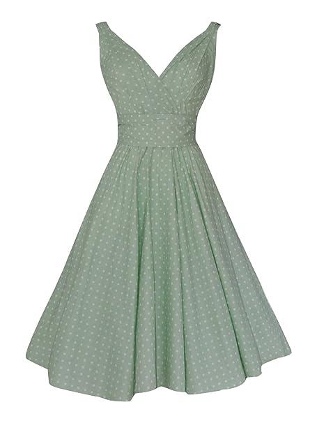Señoras Vintage Retro de color verde pastel diseño de lunares full Circle de algodón de dama