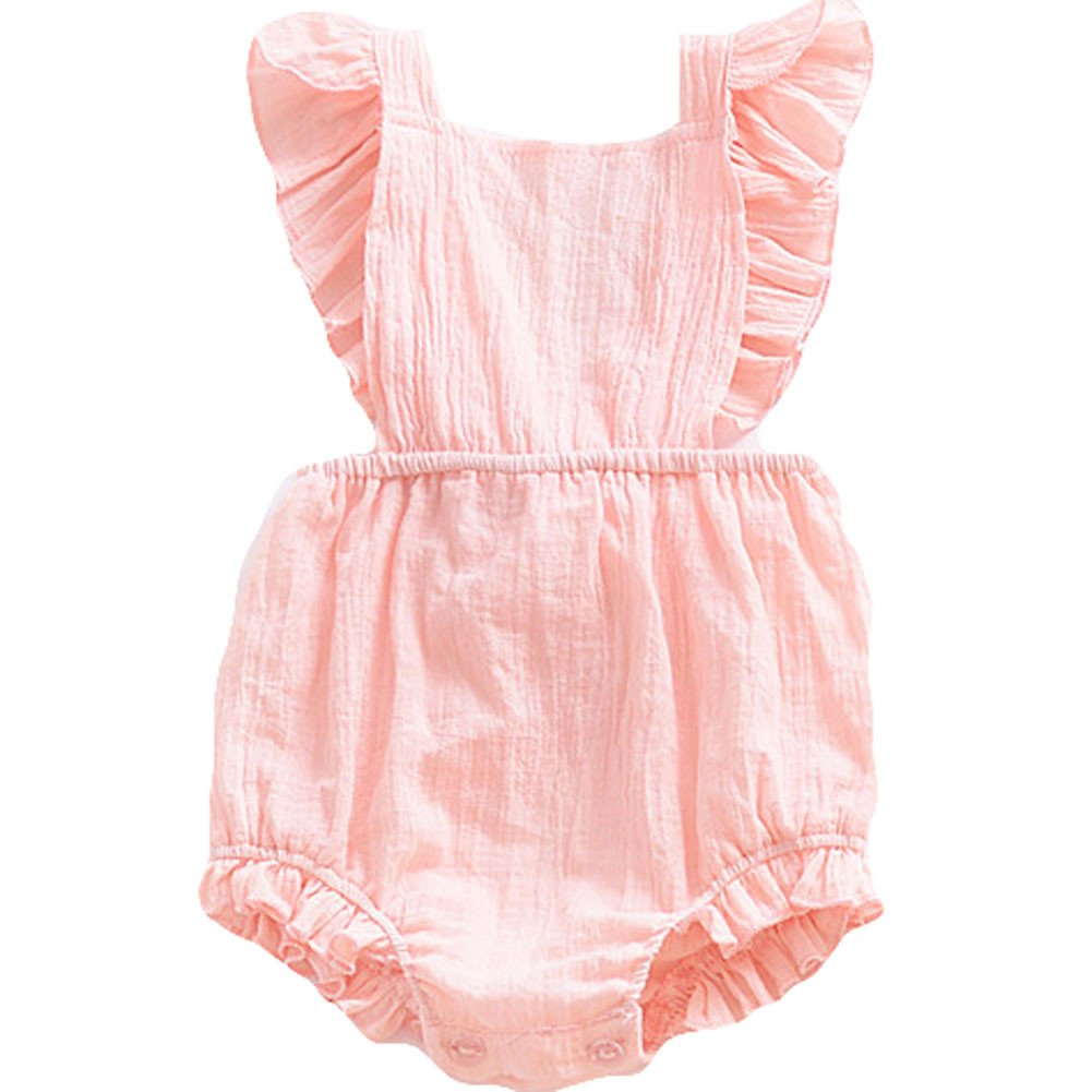 LOOLY Newborn Baby Girl Backless Bodysuit Summer Flare Sleeve Fashion Jumpsuit LOOLYTZ00337