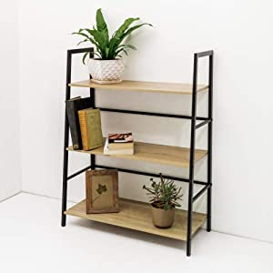 C-Hopetree Ladder Bookcase Bookshelf Storage Shelf Vintage Industrial Plant Display Stand Rack Shelving, Home Office Accent Furniture, Black Metal Frame, 3 Tier Wide