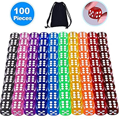 AUSTOR 100 Pieces 6 Sided Dice Set 10 Colors 16mm Acrylic Dice with a Free Pouch: Toys & Games