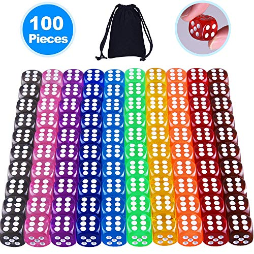 AUSTOR 100 Pieces 6 Sided Dice Set 10 Colors 16mm Acrylic Dice with a Free Pouch