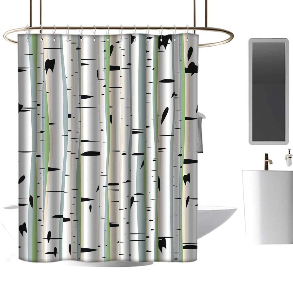 Mannwarehouse forest home decor shower curtain dense tree formation birch trunks abstract grove botanical countryside backwoods wide shower curtain w72 xl84