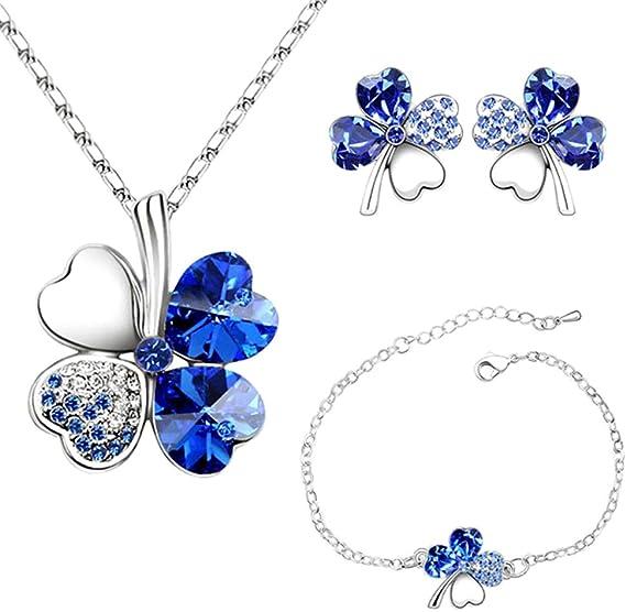 Parure Collier+Bracelet+Boucles d/'oreille Trèfle Bleu Turq.