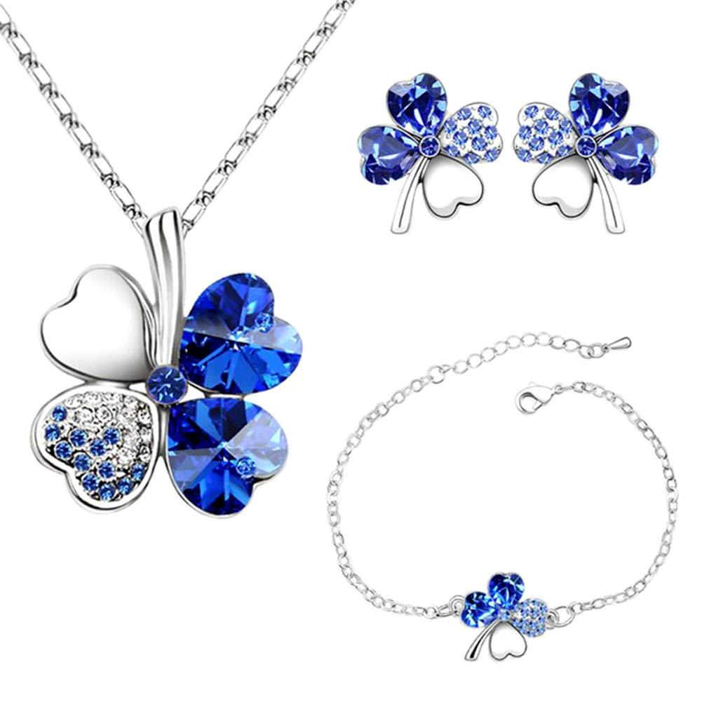 Collier Trefle Bleu Boucles Doreilles Tr/èfle /À Quatre Feuilles Bracelets R/églable Pendentif Cha/îne Ensemble De P/êche Coeur Strass Cristal Incrust/é Bijoux pour Filles Femmes-Bleu