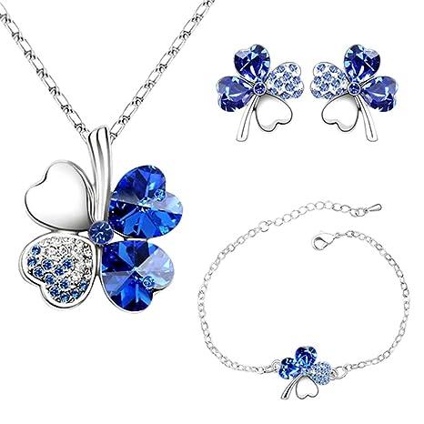 d37ec218ccda 4 Hoja Trébol Collar Earrings Pulseras de trébol de cuatro hojas Colgante  ajustable Juego de cadenas