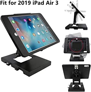 CarrieCathy Desktop & Wall Mount Anti-Theft Security Kiosk POS Stand Holder Enclosure with Lock&Key for Tablets, Compatible with 10.5inch iPad Air 3, Flip & Rotate