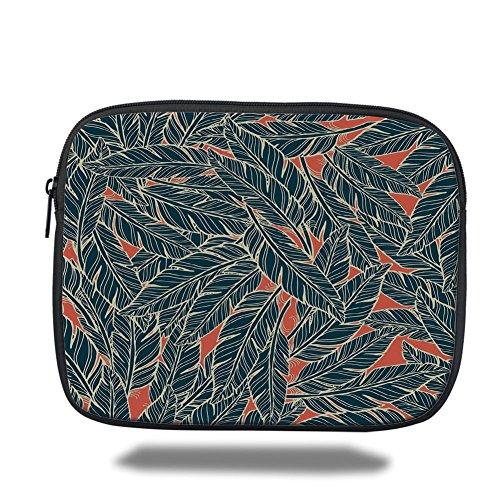 Laptop Sleeve Case,Feather Decor,Modern Artistic Display Flying Quills Birds Animals Wildlife Jungle,Black Scarlet Cream,iPad Bag by iPrint