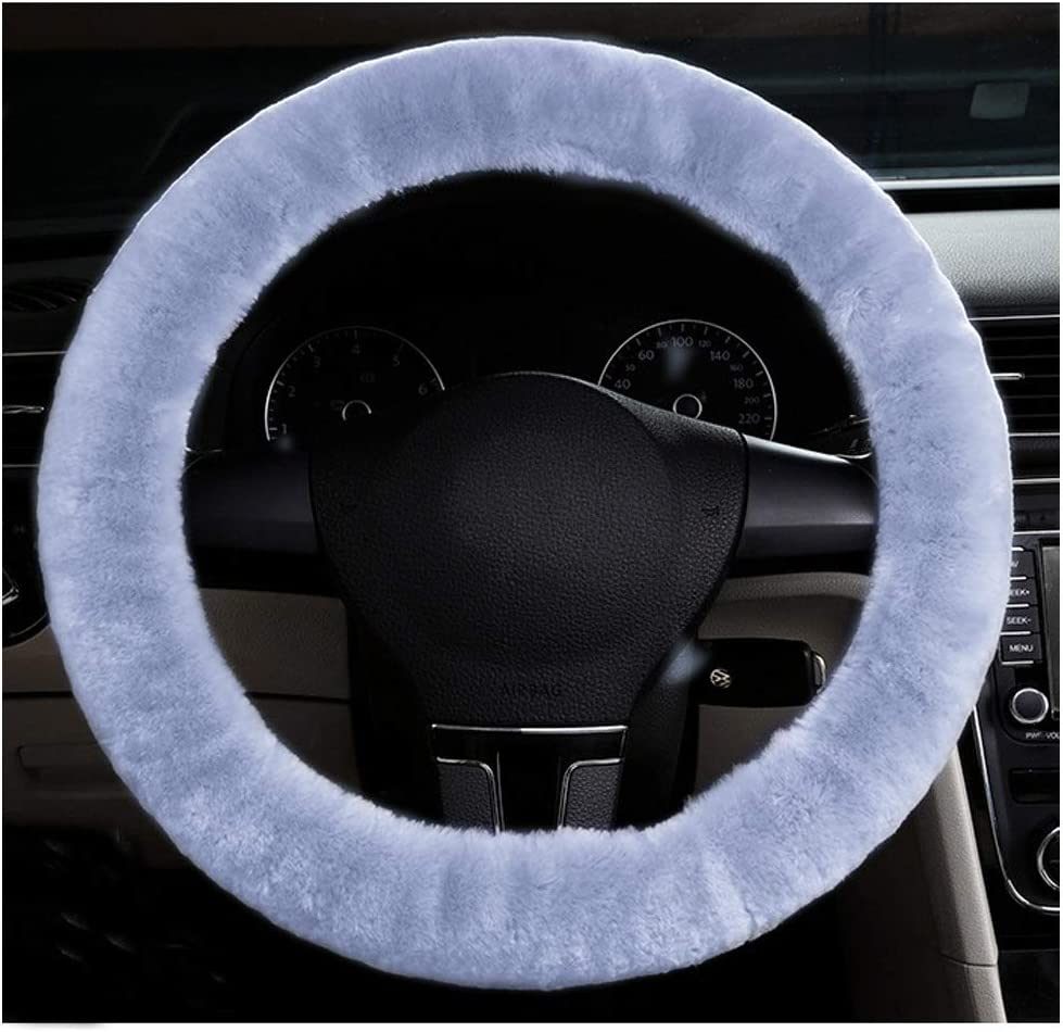 Fluffy Steering Wheel Cover Universal Soft Winter Warm Faux Fur Steering Wheel Protection Covers Wrap Anti-Slip/for Men Women Fit 37-39cm