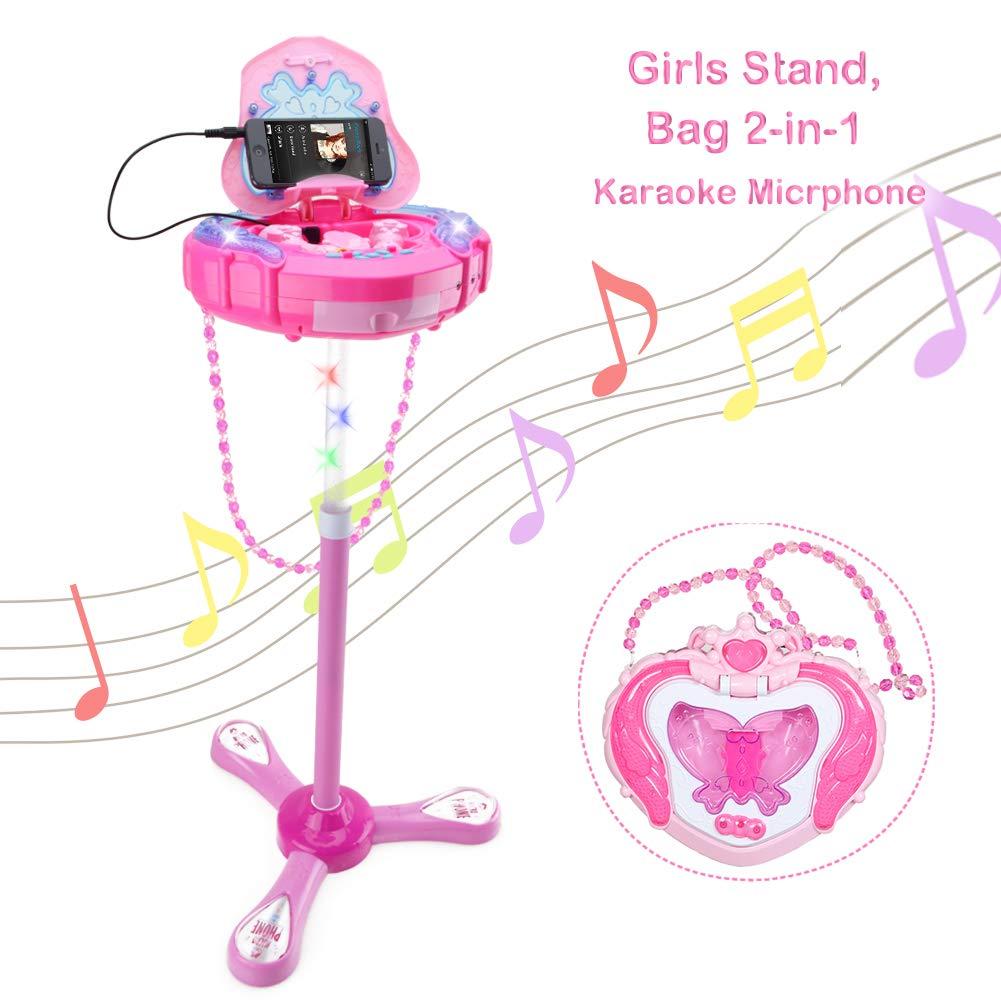 Kids Karaoke Microphone Musical Toys - Happytime Kids Pink Karaoke Adjustable Stand & Shoulder Bag with External Music Function & Flashing Lights Toy for Kids Children Girls by Happy Time (Image #1)