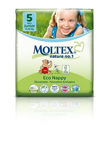 caja de cartón - 104 unidades MOLTEX Nature No1 pañales ecológicos bio oso pañales bebés JUNIOR