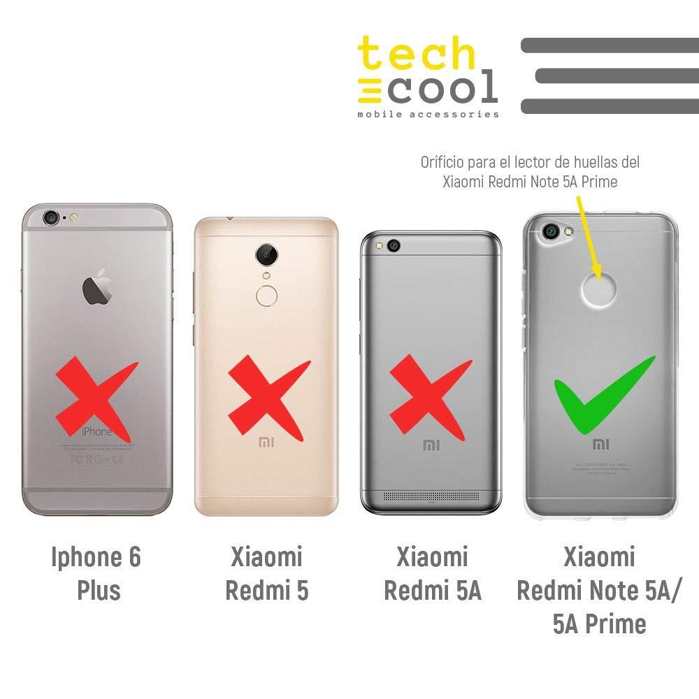 Funnytech® Funda Silicona para Xiaomi Redmi Note 5A / 5A Prime [Gel Silicona Flexible, Diseño Exclusivo] Textura marmol Azul