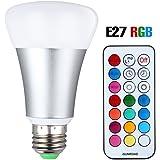 LED RGBW Lampe mit Fernbedienung, 10W A19 E27 Base Dimmbare Birne mit RGB und Kaltweißem Licht, RGB + Weiß