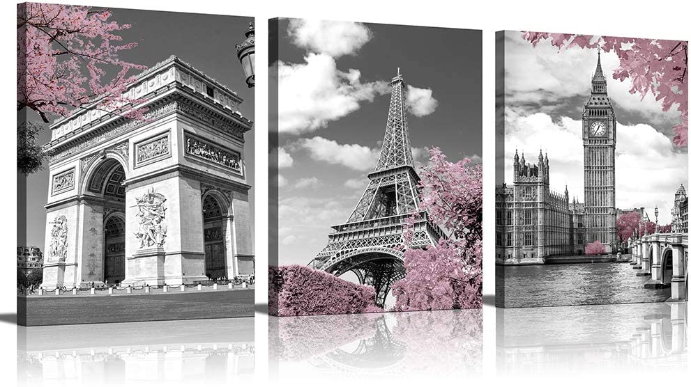 Bedroom Decor Wall Art for Living Room Wall Decor for Bedroom Bathroom Paris Pink for Women Posters for Teen Girls Room Eiffel Tower Decor London Big Ben Arc De Triomphe Decorations Black and White …
