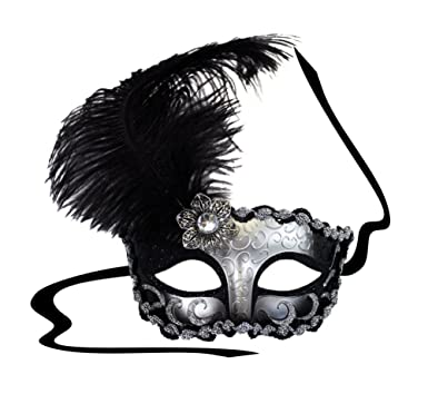 deco black silver masquerade mask for women clothing