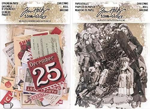 Idea-ology Tim Holtz 2017 Christmas Ephemera and Christmas Paper Dolls - 2 item bundle -