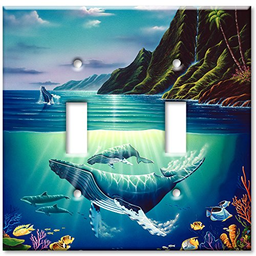 Double Gang Toggle Wall Plate - Whales