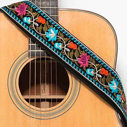 Acoustic Classical Guitar Straps - CLOUDMUSIC Guitar Strap Acoustic Electric Bass Embroidered With Leather Ends Vintage Classical Pattern Design Guitar Picks Free (Blue Pink Flower)