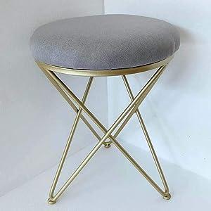 Copper Iron Upholstered Vanity Stool, Round Metal Padded Foot Stool Velvet Sponge fiilled Foot Rest Living Room Make up Bench Stool -Grey 14x18inch
