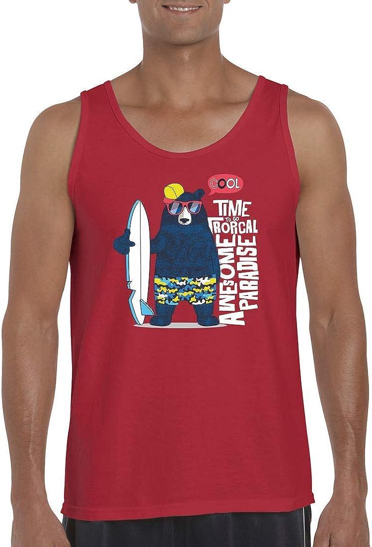 Camiseta sin mangas para hombre y hombre, diseño de oso de surf, gafas de sol de dibujos animados