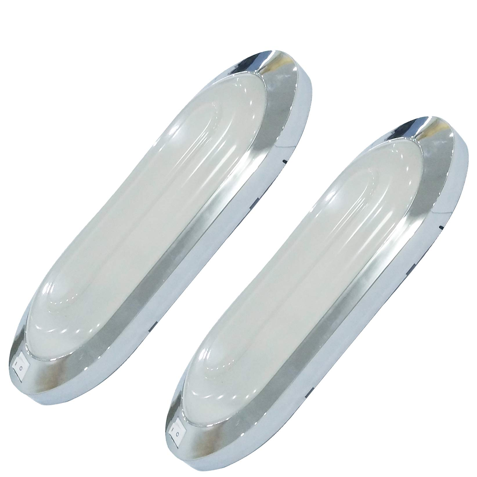 Facon New LED 12V Bright Pancake Interior Light Ceiling Dome Light 6W 470 LM with On/Off Switch (Pack of 2, Bright Chrome)
