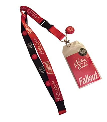 Fallout Nuka Cola D/S Lanyard Keychain ID Holder Bottle Cap Charm and Sticker