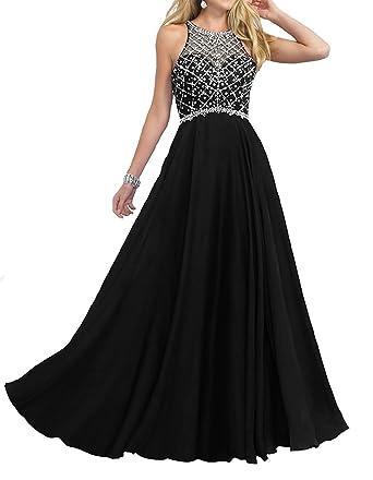 721b0c529d96 Women's Beaded Long Prom Dresses Long Sequins Halter A line Chiffon Evening  Gowns Black US2